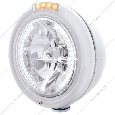 Stainless Steel Classic Headlight H4 With 34 White LED & Signal - Clear Lens