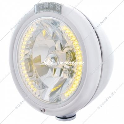 Chrome Classic Headlight H4 With 34 Amber LED & Dual Mode LED Signal - Clear Lens