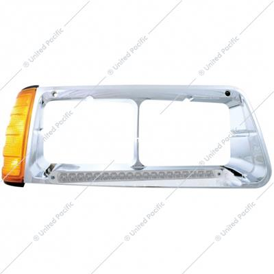 19 LED Headlight Bezel With Turn Signal For 1989-2009 Freightliner FLD -Passenger - Amber LED/Clear Lens