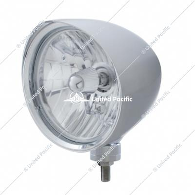 "Chrome ""Chopper"" Headlight With Smooth Visor Crystal H4 Bulb"