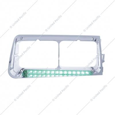 14 LED Headlight Bezel For 1989-2009 Freightliner FLD -Passenger - Green LED/Clear Lens
