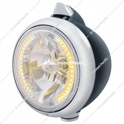 Black Guide 682-C Headlight H4 With 34 Amber LED & Original Style LED Signal-Clear Lens