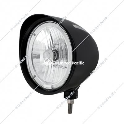 "Black ""Billet"" Style Groove Headlight With Visor 9007 Bulb With White LED Halo Rim"