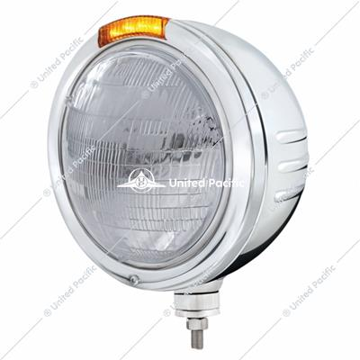 Stainless Steel Bullet Embossed Stripe Headlight 6014 & Dual Mode LED Signal - Amber Lens