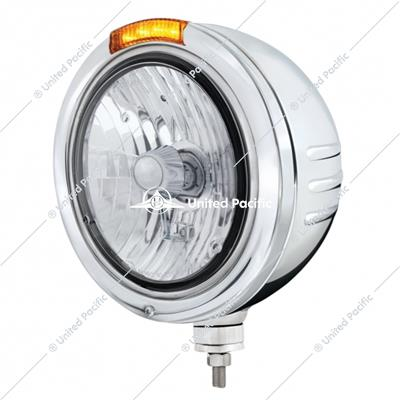 Stainless Steel Bullet Embossed Stripe Headlight Crystal H4 & Dual Mode LED Signal-Amber Lens