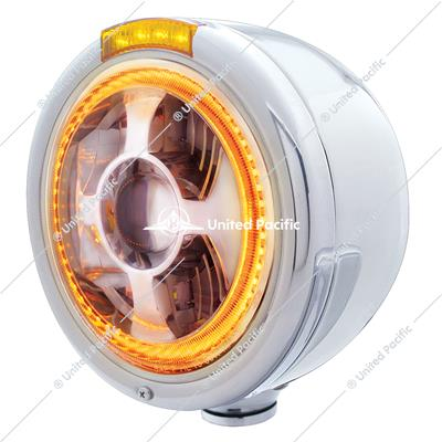 Stainless Steel Bullet Half Moon Headlight LED Projection Headlight & LED Turn Signal - Amber Lens