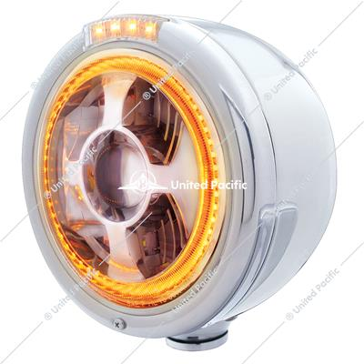 Stainless Steel Bullet Half Moon Headlight LED Projection Headlight & LED Turn Signal - Clear Lens
