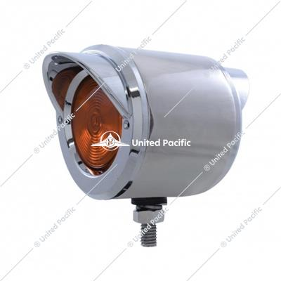 "2"" Stainless Double Face w/ 2"" Lights & Visors - Amber & Red Lens"
