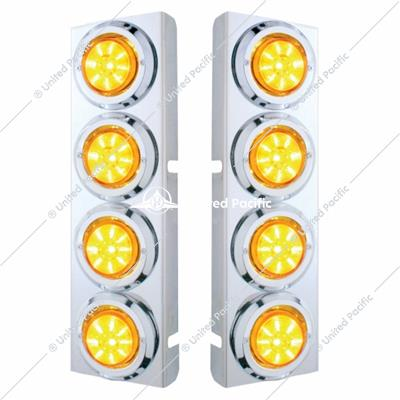 "PB SS Front Air Cleaner Bracket w/8X 9 LED 2"" Low Profile Lights & Bezels -Amber LED & Lens"