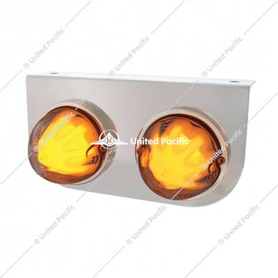 "Stainless Light Bracket w/ Two 9 LED Dual Function ""GLO"" Watermelon Lights - Amber LED/Clear Lens"
