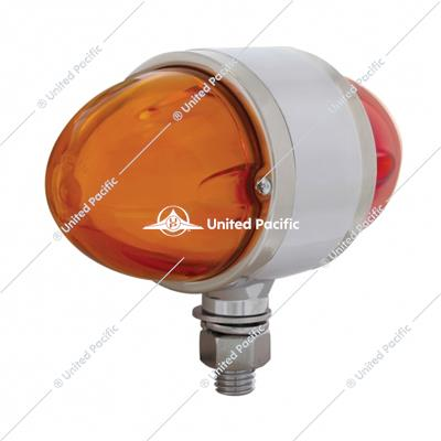 "9 LED Dual Function ""GLO"" Double Face Light - Amber & Red LED/Amber & Red Lens"