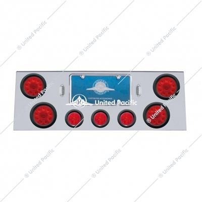 "SS Rear Center Panel w/4X 10 LED 4"" Lights & 3X 13 LED 2-1/2"" Beehive Lights -Red LED & Lens"