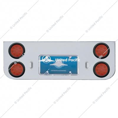 "Chrome Rear Center Panel w/ Four 12 LED 4"" Reflector Lights & Grommets - Red LED/Red Lens"