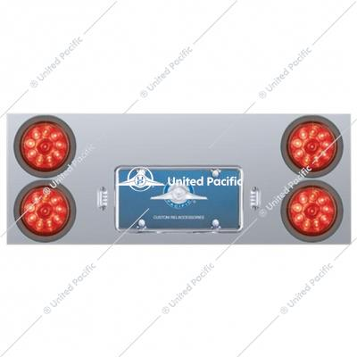 "Stainless Rear Center Panel w/ Four 10 LED 4"" Lights & Grommets - Red LED/Red Lens"