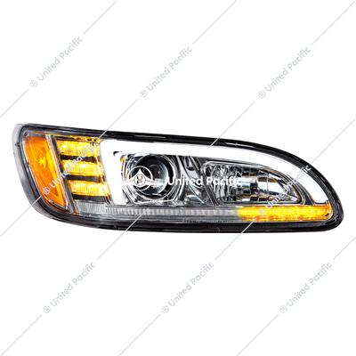 Chrome Projection Headlight With LED Sequential Turn And DRL For Peterbilt 386/387 - Passenger