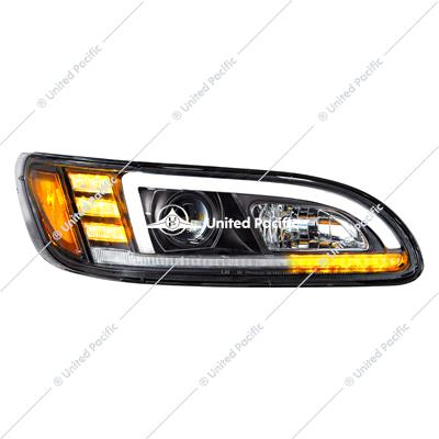 Black Projection Headlight With LED Sequential Turn And DRL For Peterbilt 386/387 - Passenger