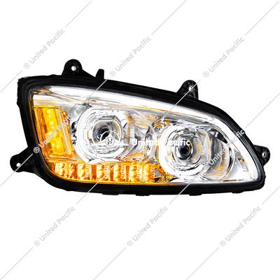 Chrome LED Headlight With LED Turn Signal & LED Position Light Bar For 2008-2017 Kenworth T660 - Passenger