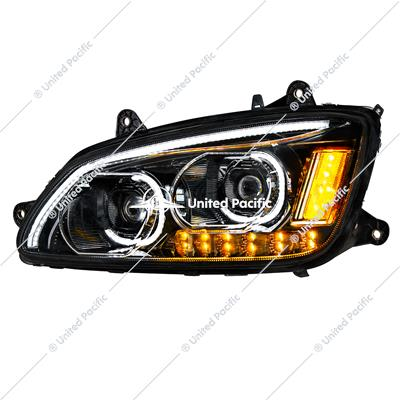 """Blackout"" LED Headlight With LED Turn Signal & LED Position Light Bar For 2008-2017 Kenworth T660 - Driver"