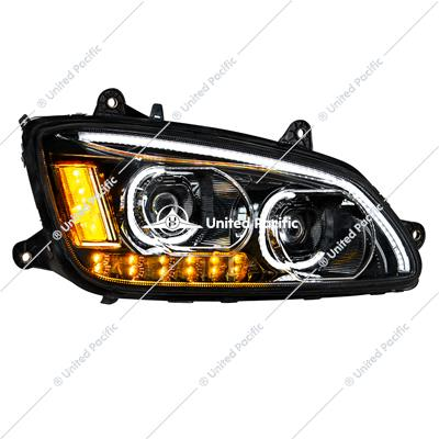 """Blackout"" LED Headlight With LED Turn Signal & LED Position Light Bar For 2008-2017 Kenworth T660 - Passenger"
