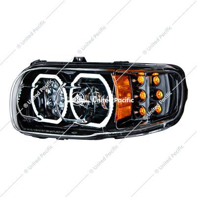High Power 10 LED Blackout Headlight W/6 LED Turn & 100 LED Halo For 2008-15 PB 388 & 2008-2021 389-Driver