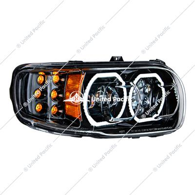 High Power 10 LED Blackout Headlight W/6 LED Turn & 100 LED Halo For 2008-15 PB 388 & 2008-2021 389-Passenger