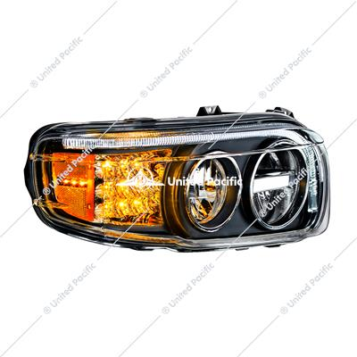 """Blackout"" LED Headlight W/LED Turn & Position Light Bar For 2008-15 PB 388 & 2008-2021 389 -Passenger"