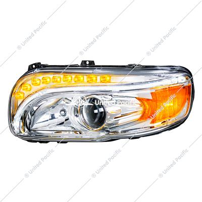 Chrome Projection Headlight W/LED Turn & Position Light For 2008-15 PB 388 & 2008-2021 389 -Driver