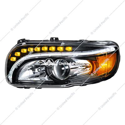 """Blackout"" Projection Headlight V2 W/LED Turn & Position Light For 2008-15 PB 388 & 2008-2021 389 -Driver"