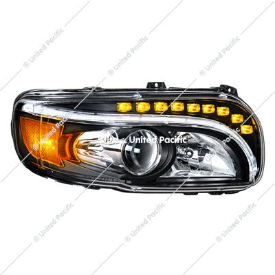 """Blackout"" Projection Headlight V2 W/LED Turn & Position Light For 2008-15 PB 388 & 2008-2021 389 -Passenger"