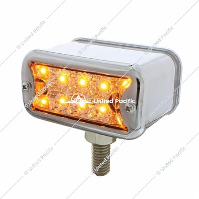 10 LED Dual Function T Mount Reflector Double Face Light w/ Bezel - Amber & Red LED/Clear Lens
