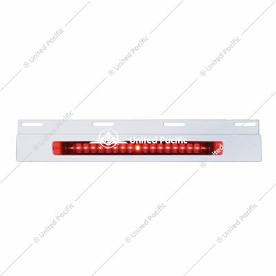 "Stainless Top Mud Flap Plate w/ 19 LED 17"" Light Bar - Red LED/Red Lens"