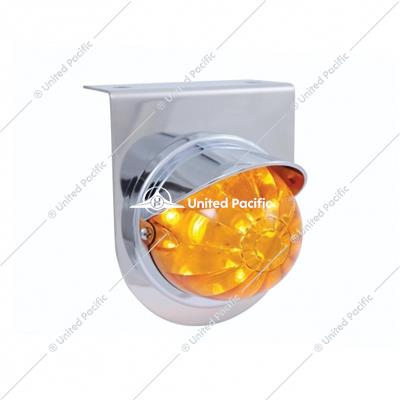 Stainless Light Bracket w/ 17 LED Watermelon Light & Visor - Amber LED/Amber Lens