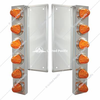 FL SS Front Air Cleaner Bracket w/12X 11 LED Watermelon Lights & Bezels -Amber LED & Lens