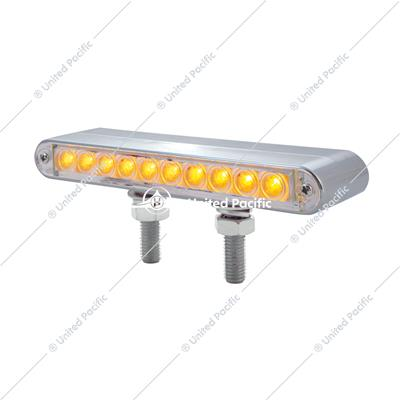 "10 LED 6-1/2"" Double Face Light Bar - Amber & Red LED/Clear Lens"