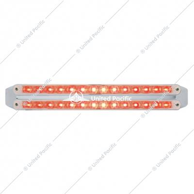 "Dual 14 LED 12"" Stop, Turn & Tail Light Bars - Red LED/Clear Lens"