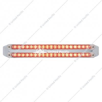"Dual 19 LED 12"" Reflector Stop, Turn & Tail Light Bars - Red LED/Clear Lens"