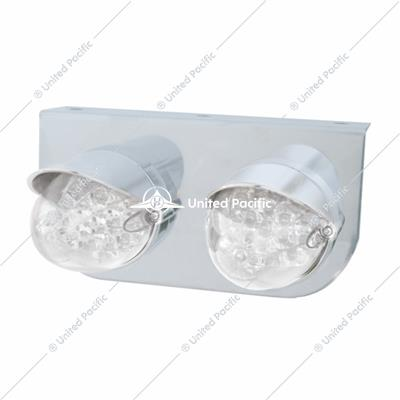 Stainless Light Bracket w/ Two 19 LED Reflector Lights & Visors - Amber LED/Clear Lens