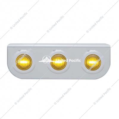 Stainless Light Bracket w/ Three 3 LED Mini Lights - Amber LED/Amber Lens