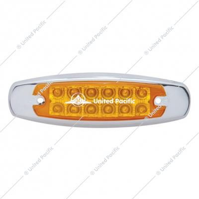 12 LED Reflector Rectangular Clearance/Marker Light - Amber LED/Amber Lens