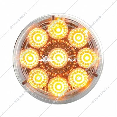 "9 LED 2"" Reflector Clearance/Marker Light - Amber LED/Clear Lens (Bulk)"
