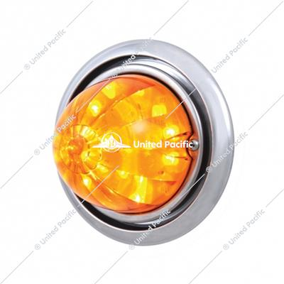 Front Bumper Light w/17 Amber LED Dual Function Watermelon Light For Freightliner Columbia - Amber Lens