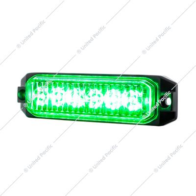 "6 High Power LED ""Competition Series"" Slim Warning Light - Green"