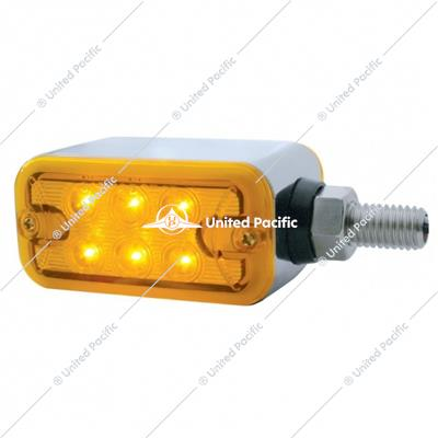 6 LED Dual Function Straight Mount Double Face Light w/ No Bezel - Amber & Red LED/Amber & Red Lens