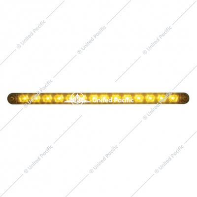 "14 LED 12"" Turn Signal Light Bar W/ Bezel - Amber LED/Amber Lens"