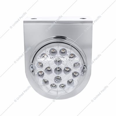 Stainless Light Bracket w/17 LED Dual Function Clear Reflector Light - Clear Lens