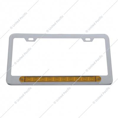 "Chrome License Plate Frame With 10 LED 9"" Light Bar - Amber LED/Amber Lens"