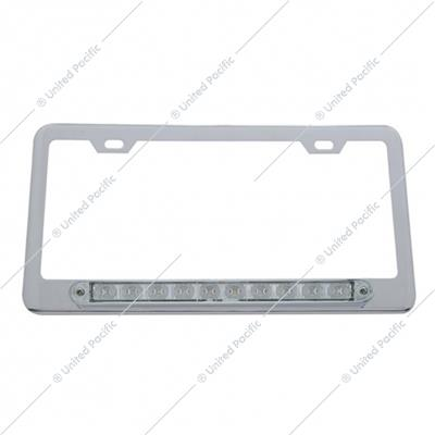 "Chrome License Plate Frame w/ 10 LED 9"" Light Bar - Amber LED/Clear Lens"