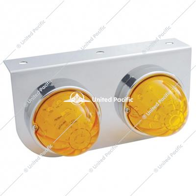 Stainless Light Bracket w/ Two 17 LED Dual Function Watermelon Lights - Amber LED/Amber Lens