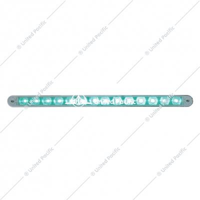 "14 LED 12"" Auxiliary strip Light w/ Bezel - Green LED/Clear Lens"