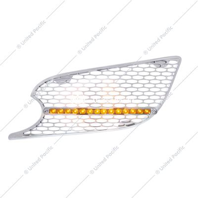 Chrome Air Intake Grille w/ LED Light For 2012-2020 Peterbilt 579 (Driver) - Amber LED/Clear Lens
